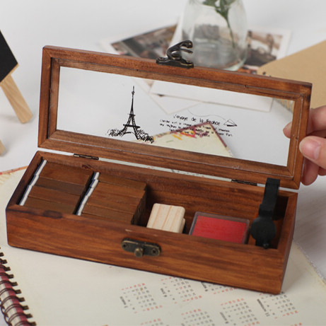 Free Shipping Transparent lid retro old wooden pencil box wood jewelry box wooden tower multifunctional stationery box