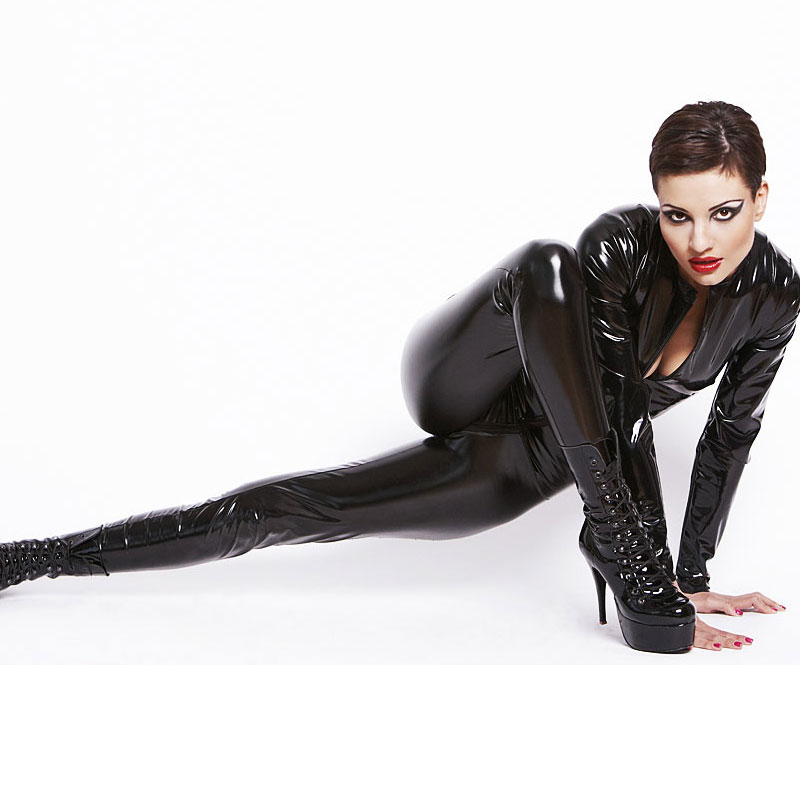 Latex Catsuit jumpsuit Faux Leather Cat Women Jumpsuits Sexy Black Stretch PVC bodysuit Lingerie Costume w6188