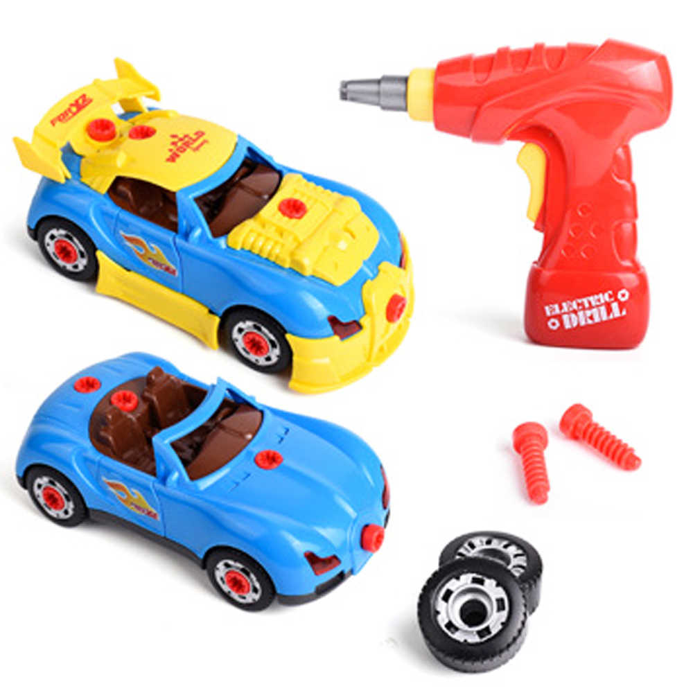 Anak Laki-laki Bor Mainan Berpura-pura Bermain Alat Bangunan untuk 2 In 1 Model Perakitan Mobil Kit dengan Suara Cahaya Sekrup Konstruksi alat Mainan