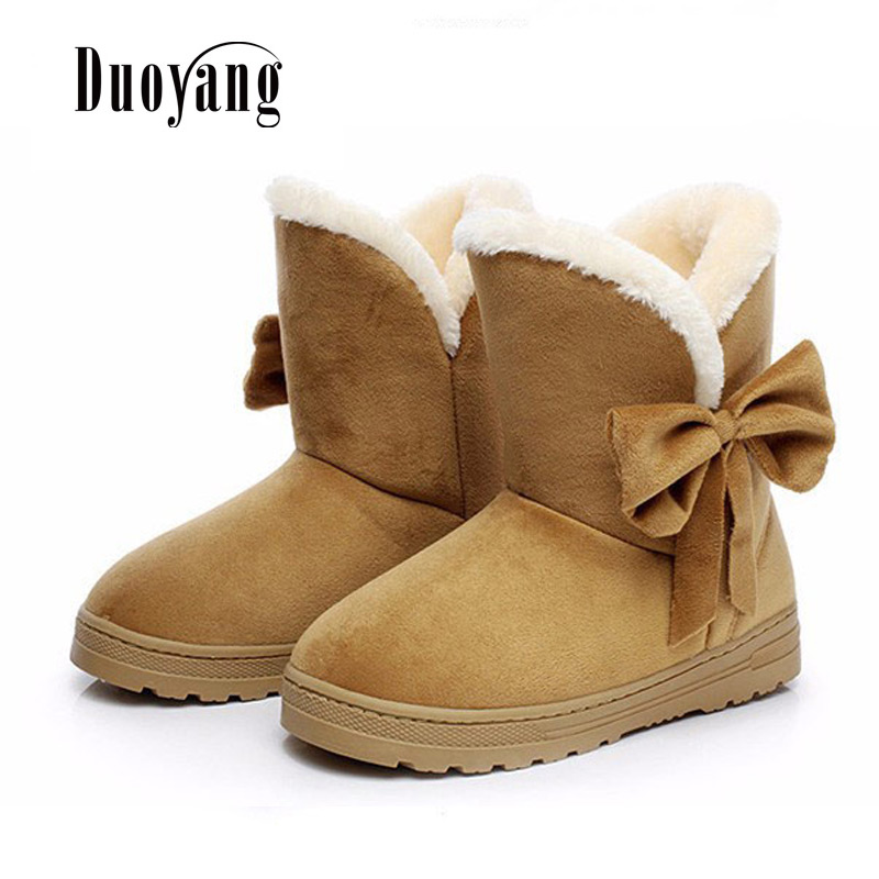 2018 New Winter Fashion Female footwear Women Bow tie Short plush Snow Boots Woman Warm  ...