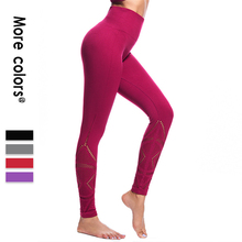 New yoga pants with high waist, hip and fitness hollow seamless jacquard