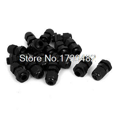 PG7 Waterproof Wire Cable Glands Clamp Black Plastic Connector 14pcs image