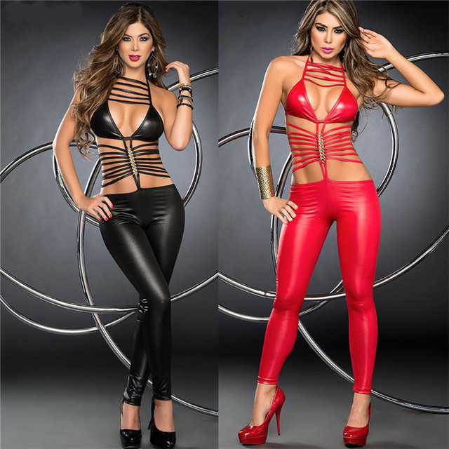 Women Sexy Erotic Lingerie Bodysuit Pole Dance Faux Leather Catsuit Lingerie Hot Erotic Latex Bodysuit Teddy Sexy Lingerie Black