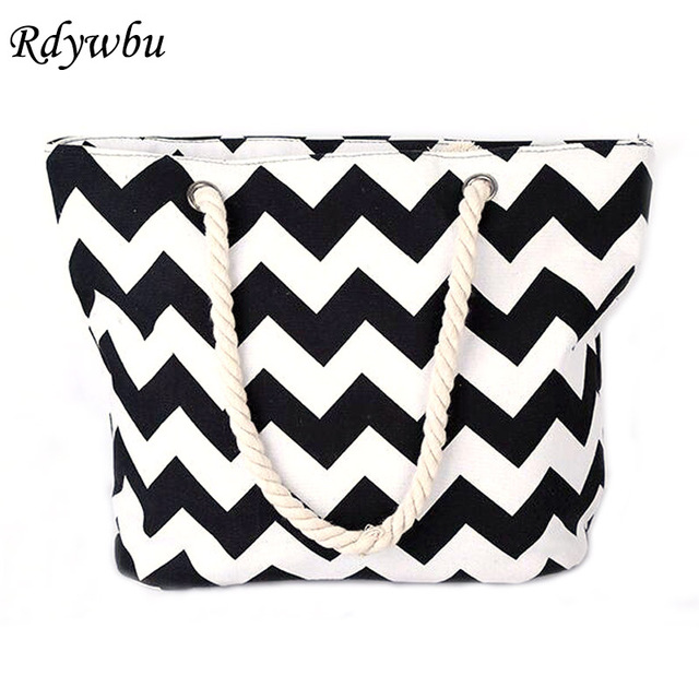 STRIPED LARGE CANVAS TOTE BAG - Women Summer Casual Cord Shoulder Bag Female Shopping Beach Handbag