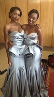 Silver Color Mermaid Bridesmaid Dress Sweetheart Beaded Floor Length Prom Gown for Wedding Party Maid Of Honor Dresses Plus Size