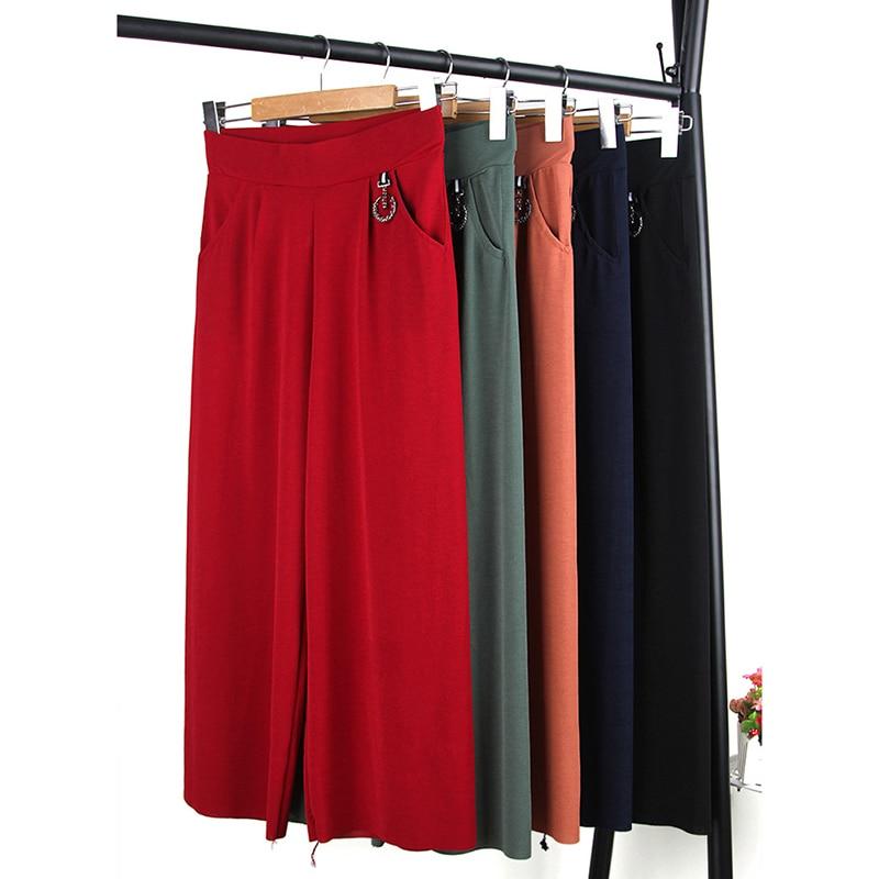 Women's   Pants   2019 Ladies Elastic High Waist   Wide     Leg     Pants   Fashion Summer Flat Pockets Trousers Solid Loose   Pants