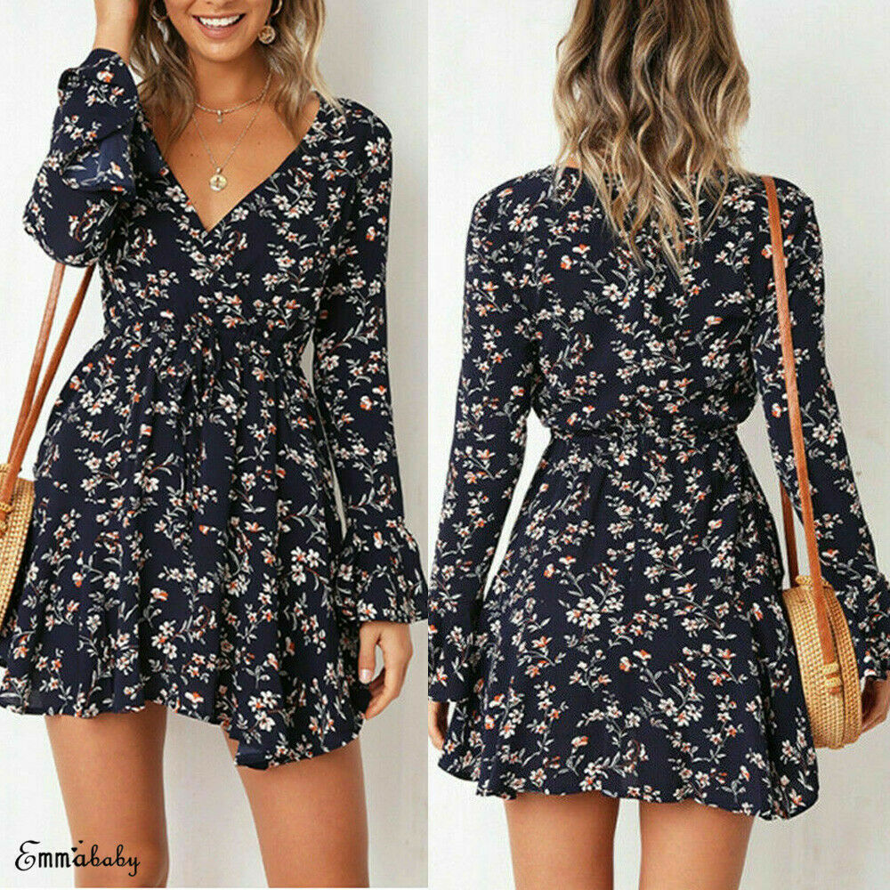 vintage Print Flower Loose Short Mini Summer Dress Women Sexy Long Sleeve Ruffles Evening Party V Neck Beach Dresses in Dresses from Women 39 s Clothing