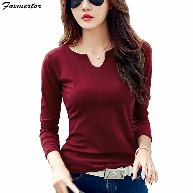 Foxmertor T Shirt Women 2018 Autumn Cotton Female T Shirts