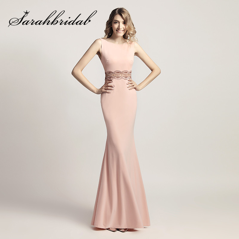 Pink Mermaid   Evening     Dresses   2019 New Beaded in the Waist Sexy Backless Floor Length Satin Elegant Celebrity Prom Gowns CC453