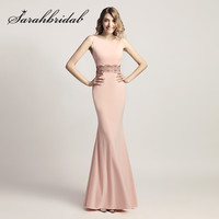 Pink Mermaid Evening Dresses 2018 New Beaded in the Waist Sexy Backless Floor Length Satin Elegant Celebrity Prom Gowns CC453