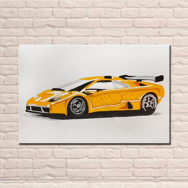 New Design Hand Painted Modern Sports Car Yellow Color Abstract Canvas  Paintings Wall Pictures For Living