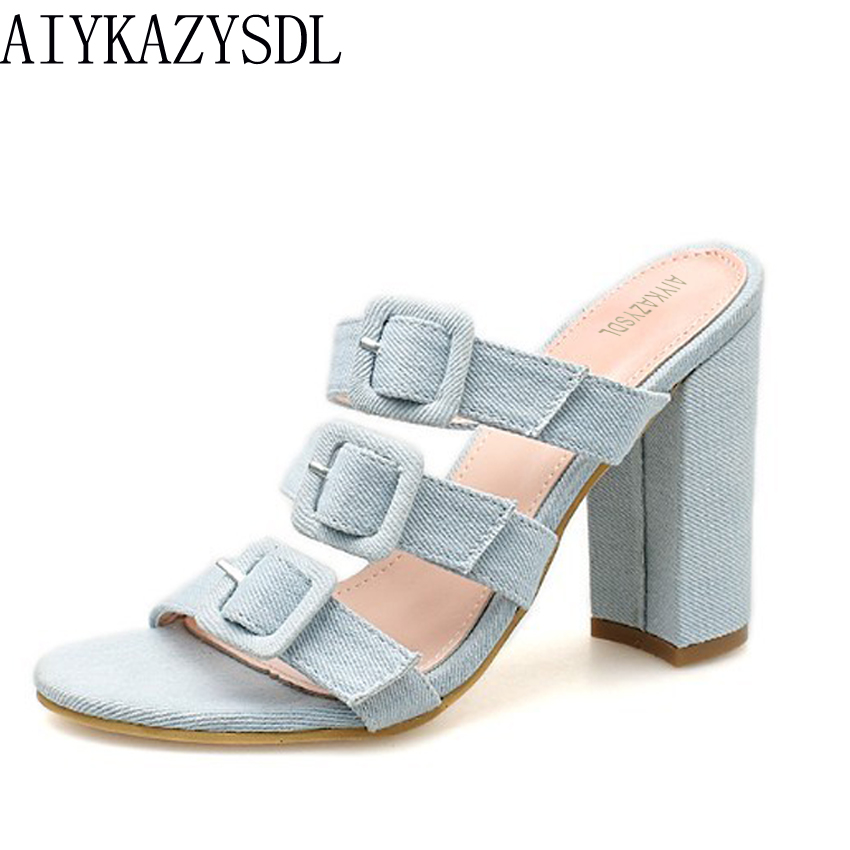 04ea982fca88 AIYKAZYSDL Women Bohemia Sandals Flower Floral Print Denim PU Shoes Rome  Strappy Buckle Strap Mules Thick Block High Heel Slides-in High Heels from  Shoes on ...