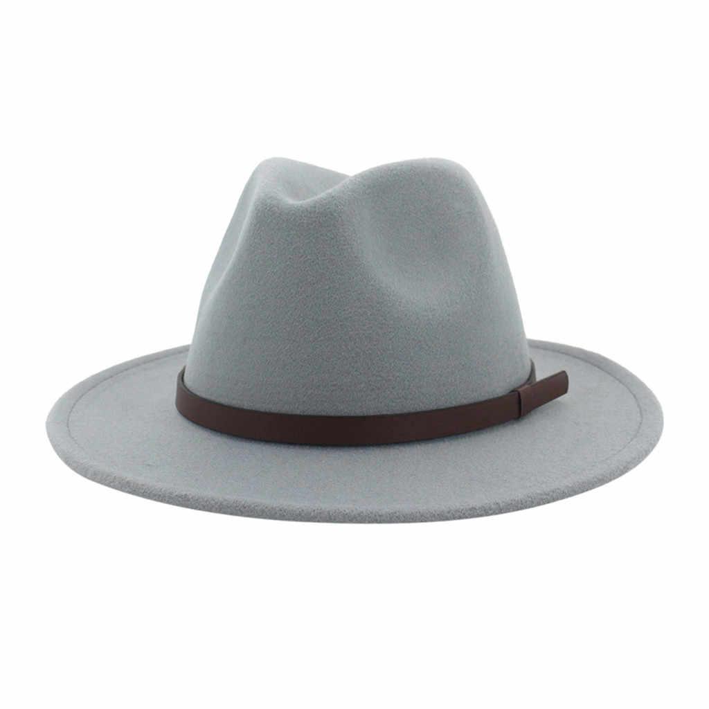 Hitam Merah Patchwork Wol Merasa Jazz Fedora Topi Sabuk Gesper Dekorasi Wanita Unisex Topi Panama Trilby Topi Koboi Sunhat # YL5