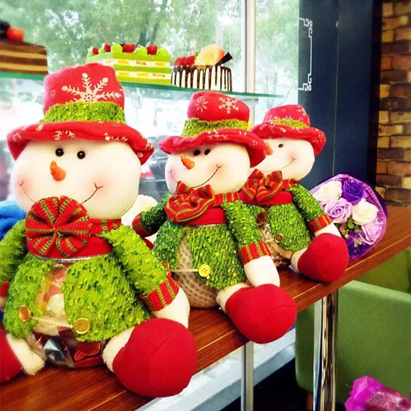 Jarred Christmas Gifts: Santa Claus Candy Jar Cloth Doll Candy Box Large Round
