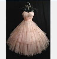 Фактический образ винтажный, до середины икры розовый выпускной 2018 элегантное Тюлевое Блестки Короткие Бальные вечерние платье подружки н