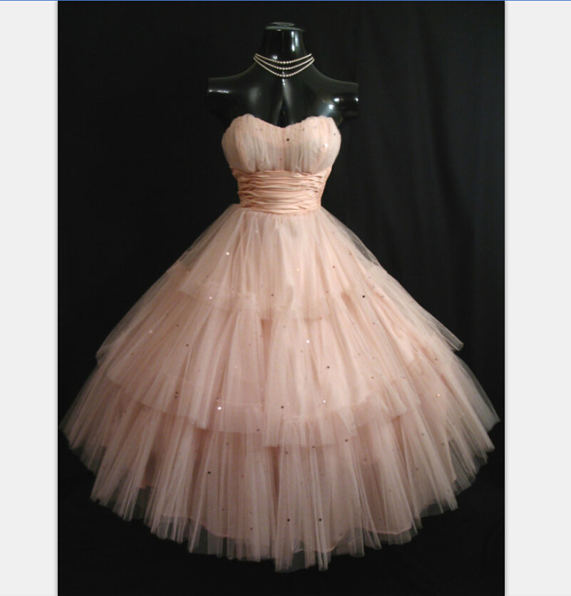 Actual Image Vintage 1950s Tea Length Pink Prom Dresses 2016 Tulle Sequins Short Homecoming Dress Ball Gown Party Gowns