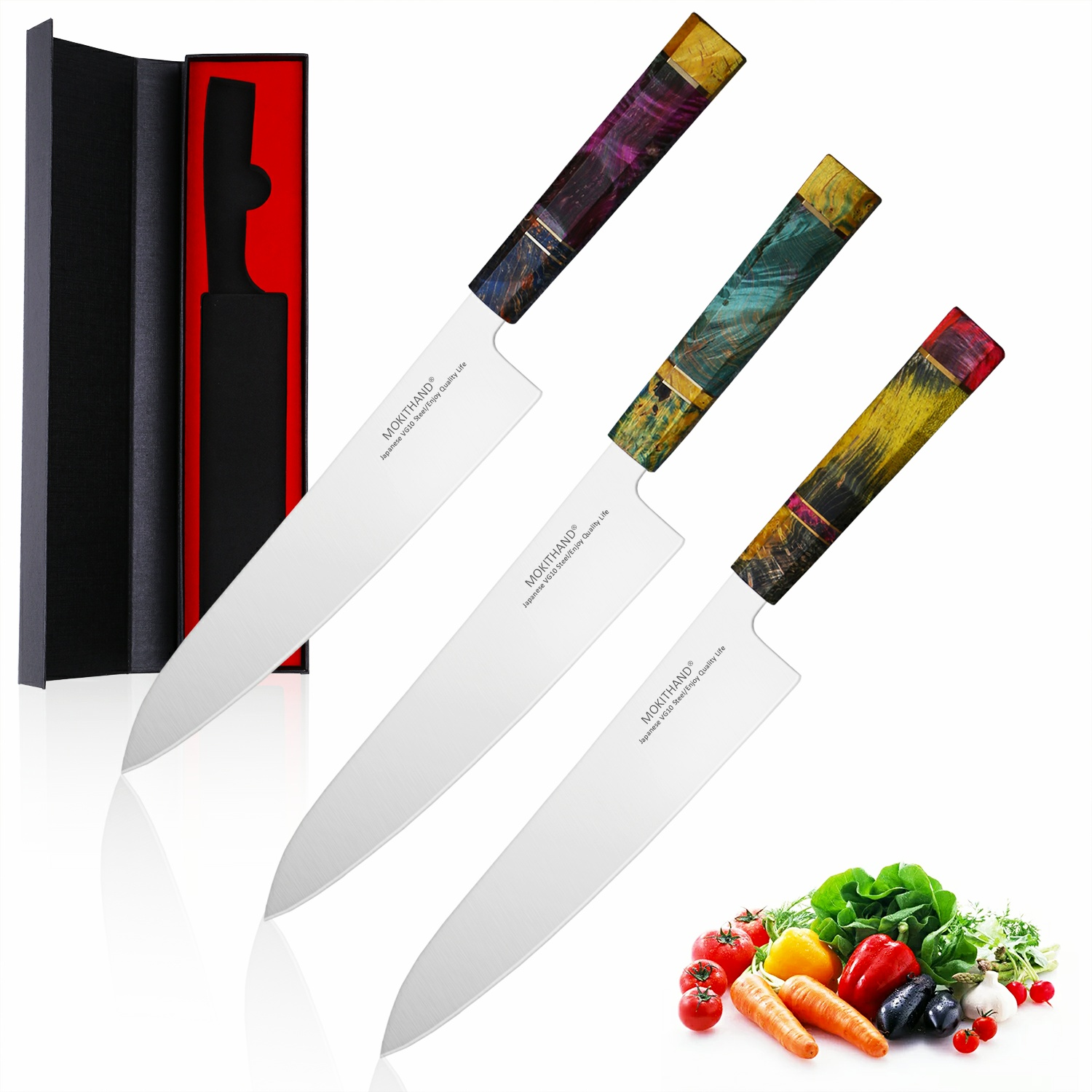 Mokithand 9 Inch Chef Knife Japanese VG10 Kitchen Knives 240mm Professional Japan Damascus Steel Fish Meat