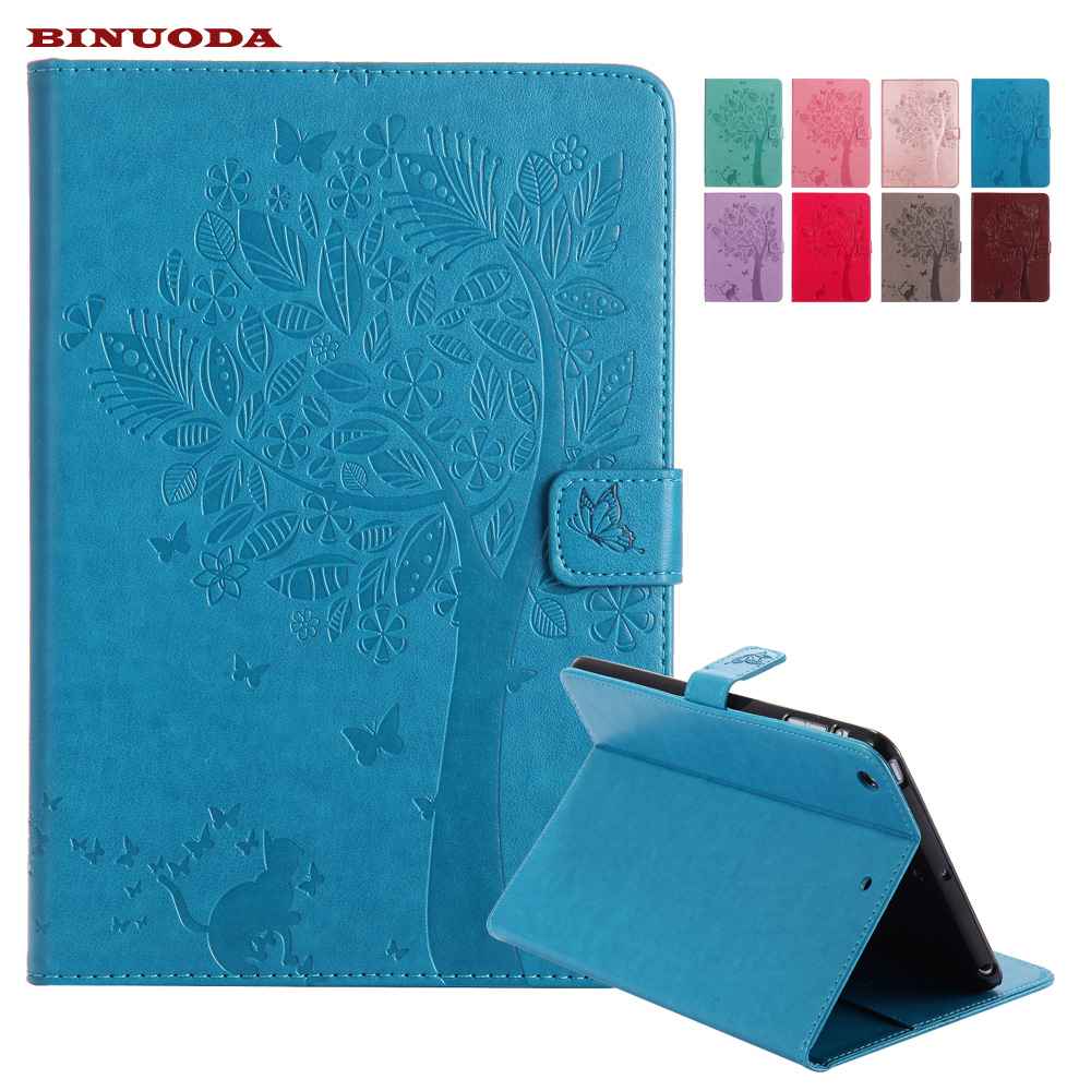 For Funda iPad Mini Case Cat Girl Embossed PU Leather Wallet Stand Case with Auto Wake/Sleep Smart Cover for iPad Mini 3 2 1