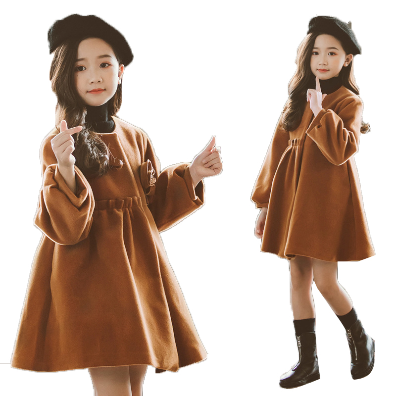 Woolen Coat For Girls Autumn Girls Jacket Flower Children's Clothes Christmas Red Kids Outerwear Winter Girl Clothes 6 8 12 Year|Jackets & Coats| |  - title=