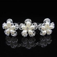 20Pcs Pearls Crystal Wedding Bridal Hair Pins Clips Five Petals Flower Rhinestone Hairpins Fashion Jewelry Accessories