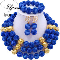 Laanc Royal Blue Simulated Pearl Black Women African Beads Jewelry Set Nigerian Wedding Party Jewellery Accessories AL633