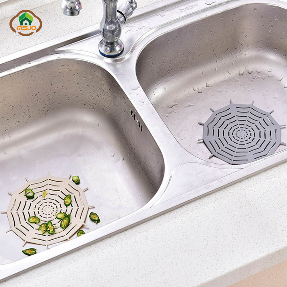 MSJO Kitchen Accessories Sink Strainer Silicone Floor Vegetable Catch Waste Universal Net Bathroom Hair Catcher Filter Shower