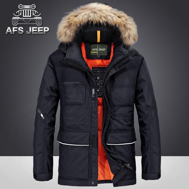 Hombres Abajo Chaqueta Abrigo de Invierno Más Tamaño Suelta la ropa de marca Informal Cálido Con Capucha Chaquetas Parka Gruesa Impermeable AFS Jeep Original