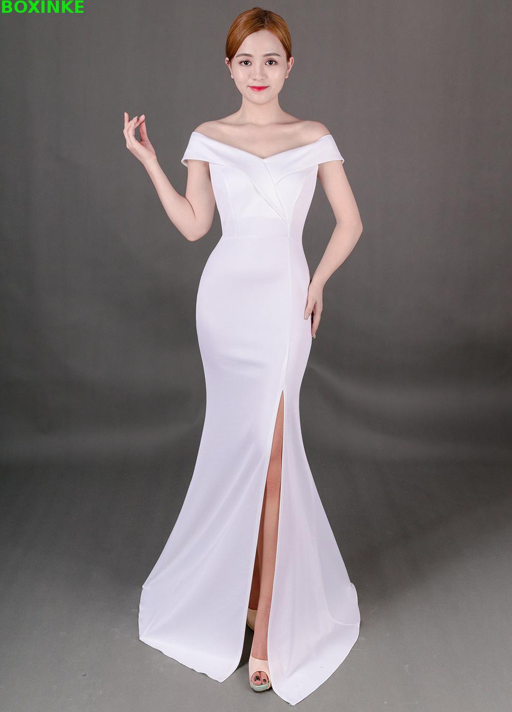 2019 Robe de grande taille Robe ruée solide Lanon nouvelle élégance et Style Long, un col mot pour la nuit sensuelle de Compere Party