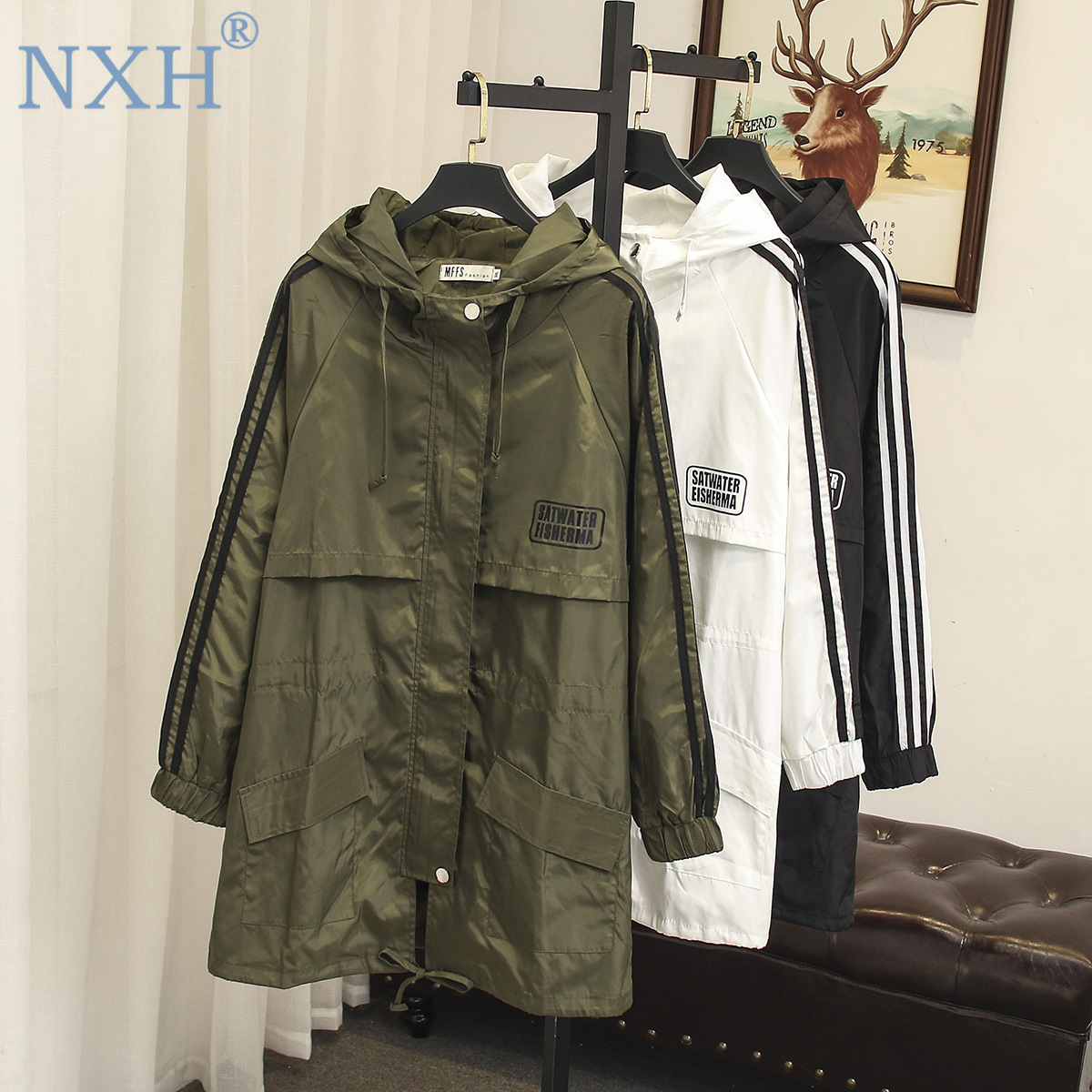 NXH large size   trench   women female windbreaker cape woman clothes long   trench   coat loose plus size outwear womens clothing