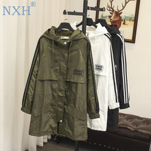 large size trench women female windbreaker hooded cape woman clothes long trench coat loose plus size outwear duster coat cheap Solid zipper Full NXH723 Wide-waisted Pockets Broadcloth Casual COTTON Polyester