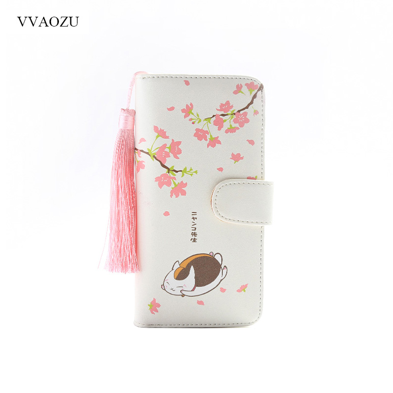 Anime Natsume Yuujinchou Women's Cartoon Wallet Female Clutch Long Purse Zipper Coin Pocket Card Holder Portefeuille Femme