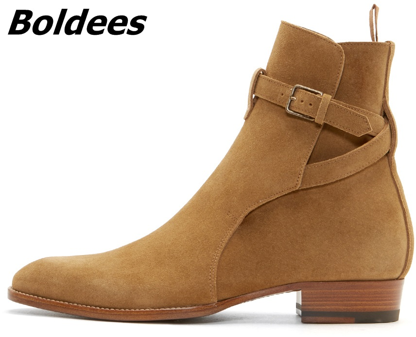 Boldees Italian Fashion Chelsea Boots Tan Suede Kanye West Wear Boot Real Leather Luxury Brand Men Shoes Bootie WinterBig Size