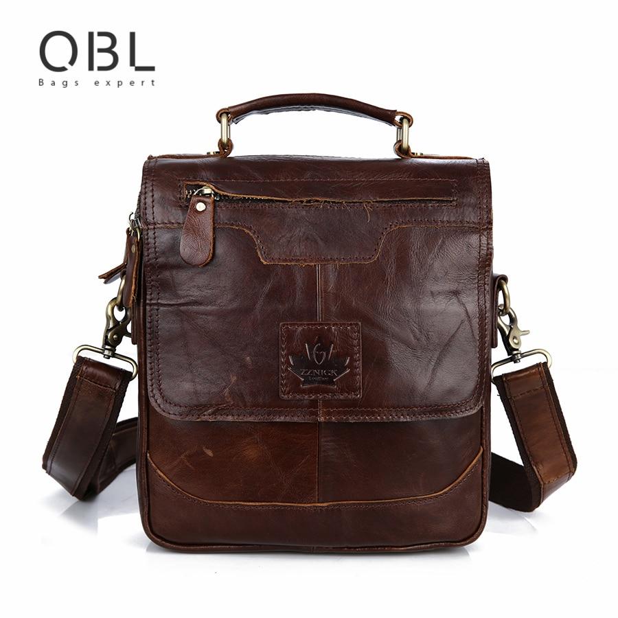 QiBoLu 2017 Vintage Genuine Leather Handbag Messenger Bags Men Crossbody Shoulder Bag Man Sacoche Homme Bolsa Bolso Hombre MBA69