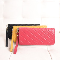 New ladies Japanese and Korean fashion long leather genuine wallet leather rhombic trend multi card wallet