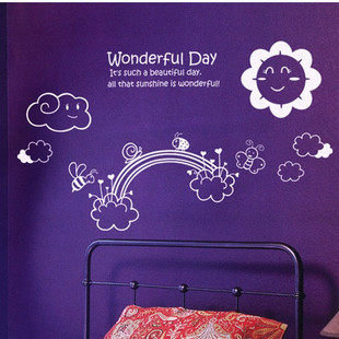 Wonderful day cartoon wall stickers child real 127