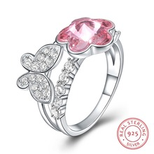 06487ae9f79 Venda QUENTE Da Moda Jóias de Cristal Borboleta Anel de Flor para a Festa  de Casamento