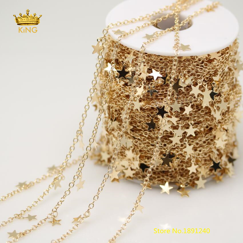 Beauty Chains Findings,5meters 6mm Wire Wrapped Star Shape Copper Plated Golden Links Chains Beading Bracelet DIY Necklace ZJ115 5meters 6mm cross gold copper wire wrapped multi color turquoises round howlite rosary chains crafts bracelet necklace bulk bh12