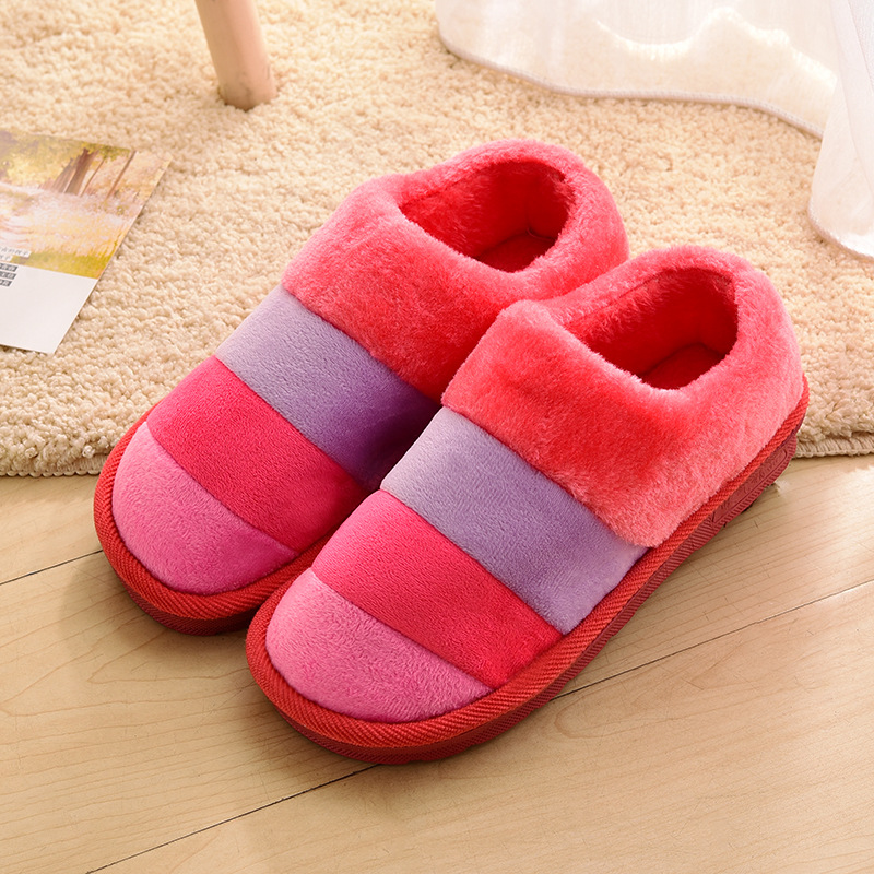winter striped wool slippers home thick warm warm all inclusive with women s cotton slippers Winter striped wool slippers home thick warm warm all-inclusive with women's cotton slippers