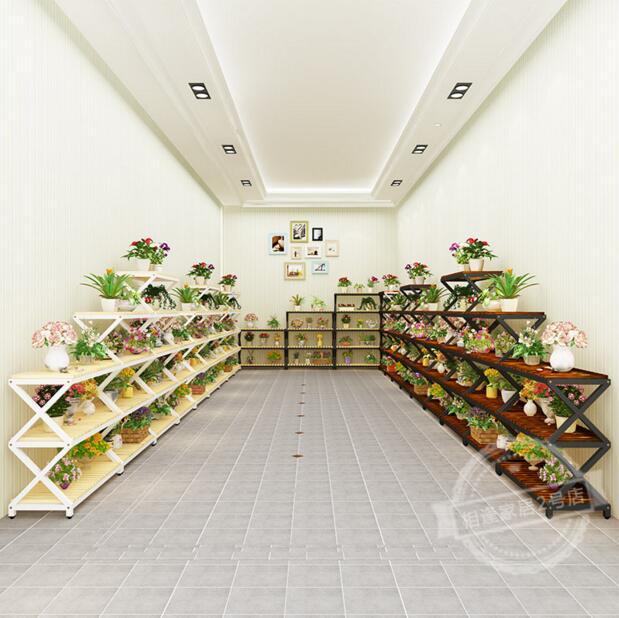 1843d0aa0d02 Estante en forma de x multicapa anticorrosiva de madera maciza con estante  de flores de hierro en Soportes y estanterías de almacenamiento de Hogar y  jardín ...