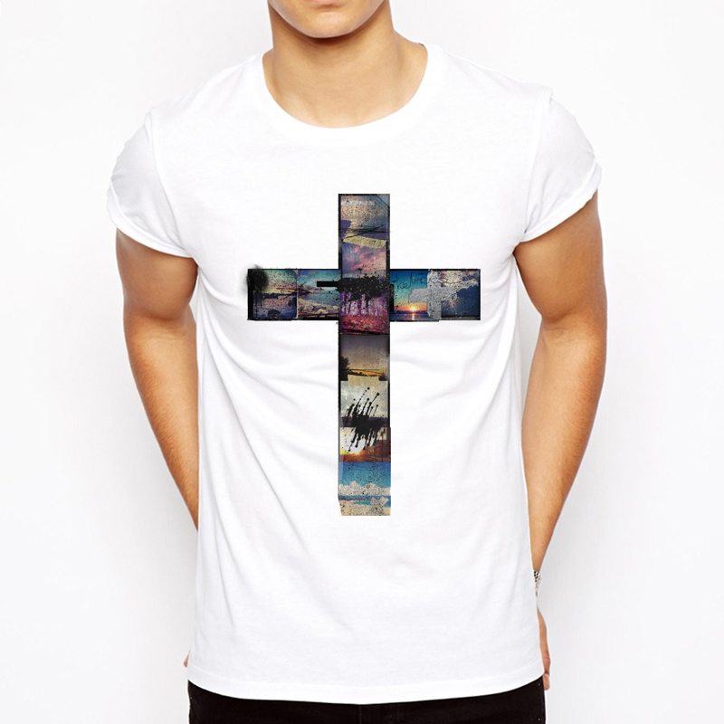 Summer The Cross Trees Man   T     Shirts   Jesus Faith Short Sleeve Tshirts Casual Streetwear Fashion Jesus Christ cross Men   T  -  shirts