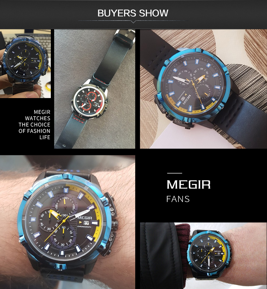 Topdudes.com - MEGIR Luxury Chronograph Military Quartz Sports Watch