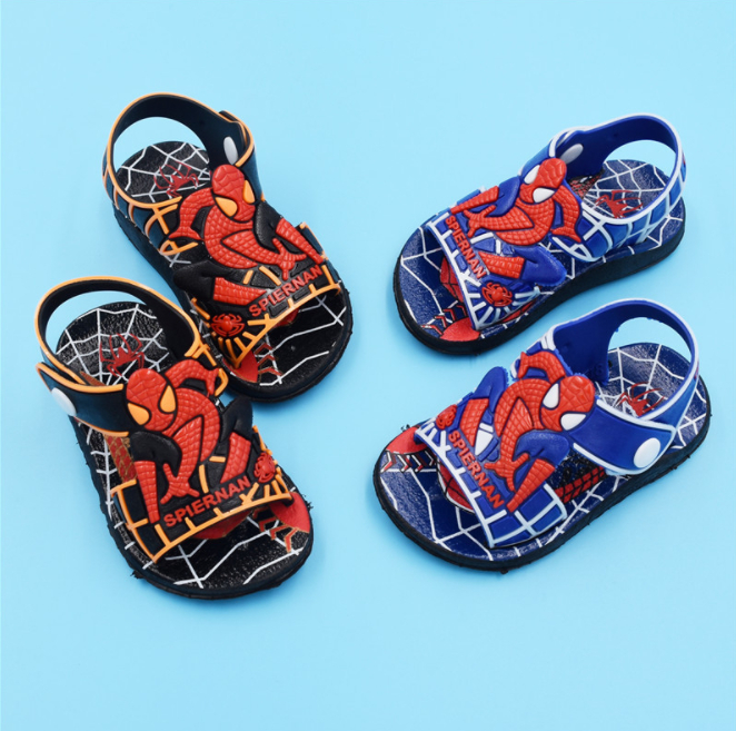 1 Pair Fashion New Summer Children Cartoon Sandals Boys And Girls Sandals Beach Sandals Two Color Selection Spiderman 1-6 Year