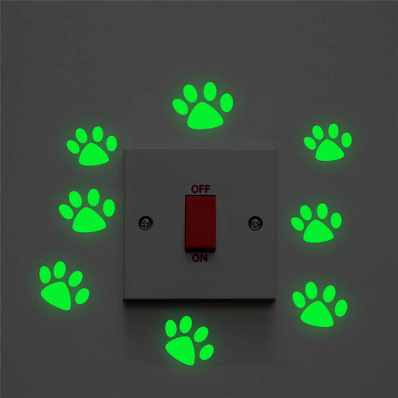 Cute Cat Dog Footprint Luminous Switch Decals Bedroom Glow In The Dark Home Decor Fluorescent Wall Stickers Vinyl Wallpaper