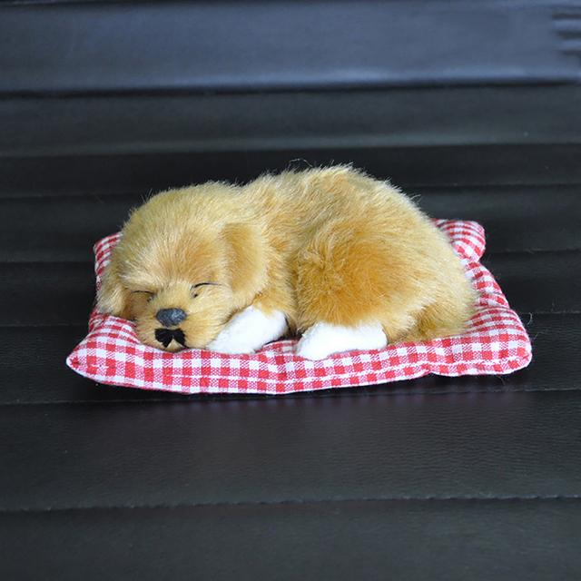 Car Ornament ABS Plush Dogs Decoration Simulation Sleeping Dog Toy Automotive Dashboard Decor Ornaments Cute Auto Accessories