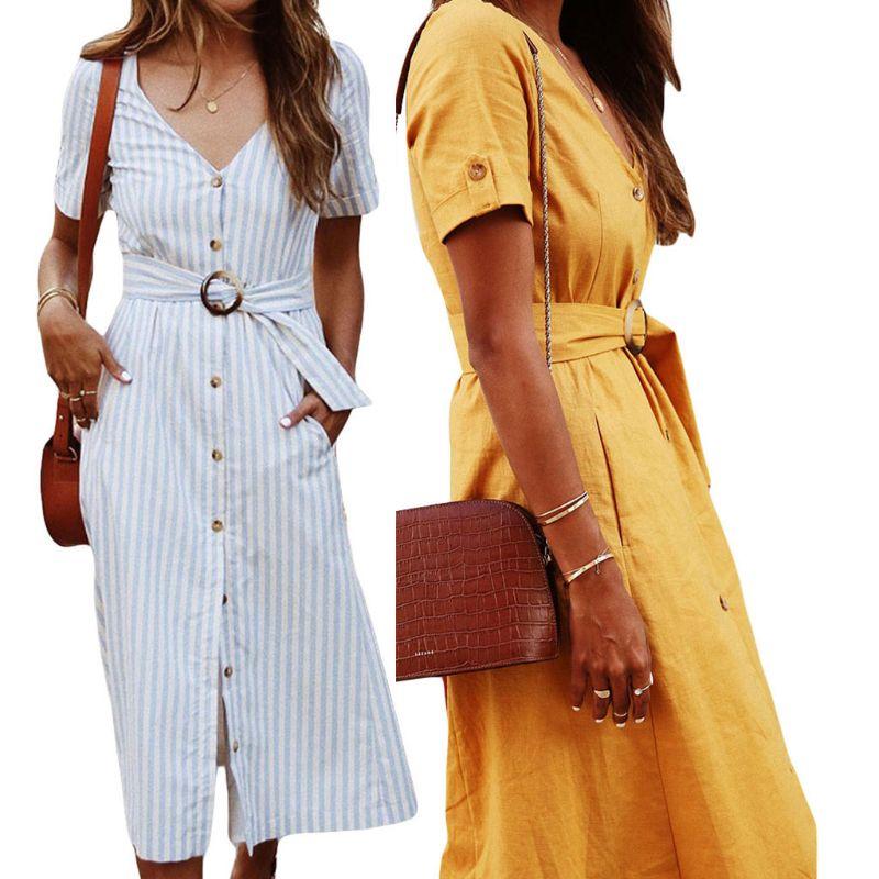 Women Ladies Summer Holiday Short Sleeve V Neck Belt Button Sundress Swing Dress