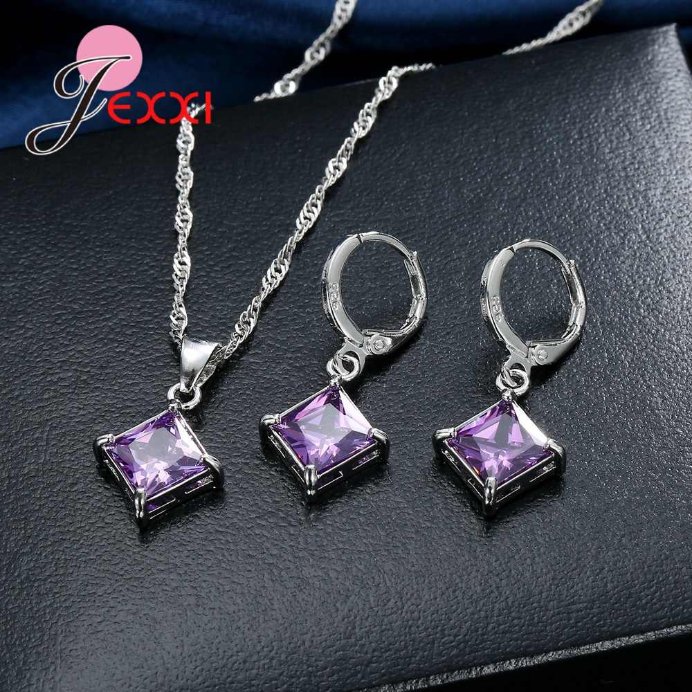 Exquisite Beautiful Colorful Square Crystal Girlfriend Gift Engagement Jewelry 925 Sterling Silver for Fashion Women