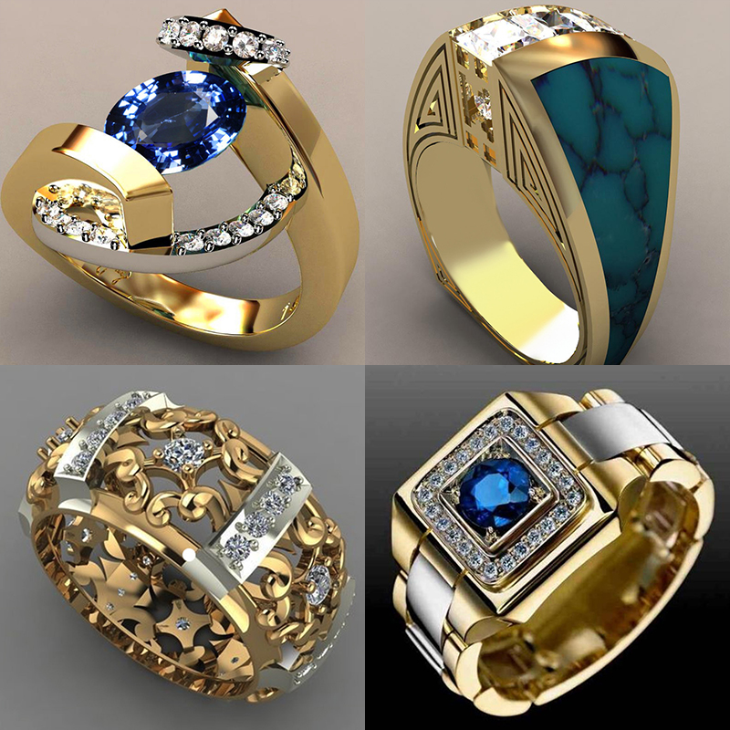 2019 New Blue White Zircon Stone Ring Male Female Yellow Gold Wedding Band Jewelry Promise Engagement Rings For Men And Women
