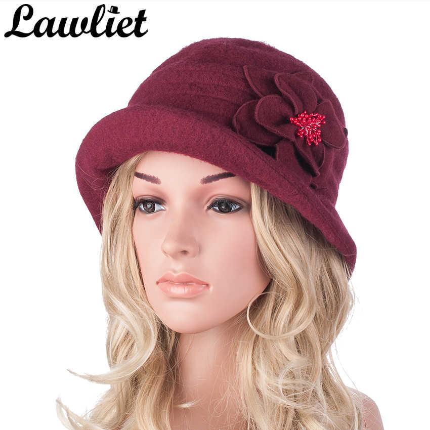 c887eb8f36969 ... Winter Hat for Women 1920s Gatsby Style Flower Warm Wool Beret Winter  Cap Ladies Beanies Church ...