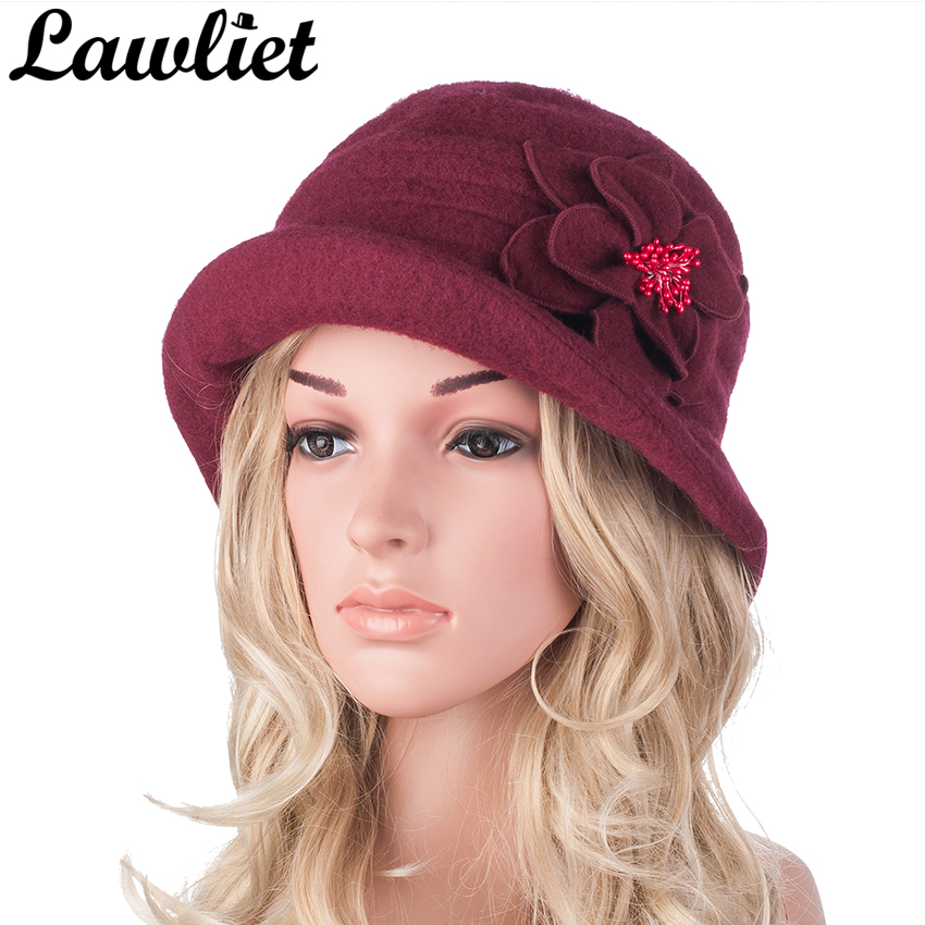 Winter Hat For Women Vintage Wool Beret Cap Middle Aged Women Beanies Hat Gatsby Style -2516