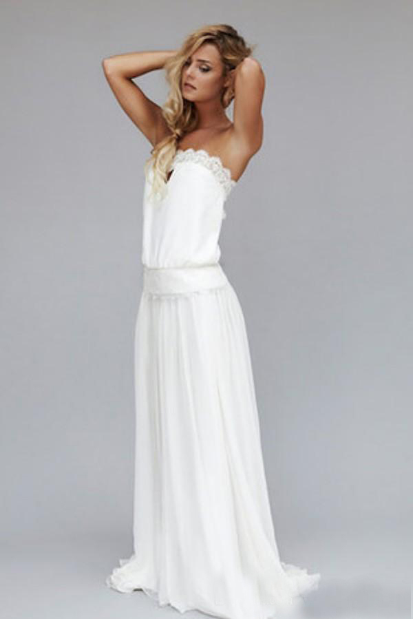 Vintage 1920s Sexy Beach Wedding Strapless Backless Lace Ribbon empire Waist  Bohemian Bridal Gowns Boho Hippie Bridesmaid Dress-in Bridesmaid Dresses  from ... 9c9c9badeb